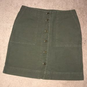 LAUREN Ralph Lauren Army Green Button-Front Skirt